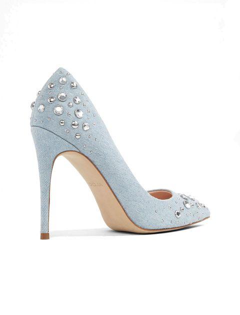 کفش پاشنه بلند پارچه ای زنانه - آبي روشن - 2