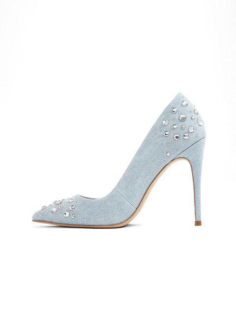 کفش پاشنه بلند پارچه ای زنانه - آبي روشن - 3