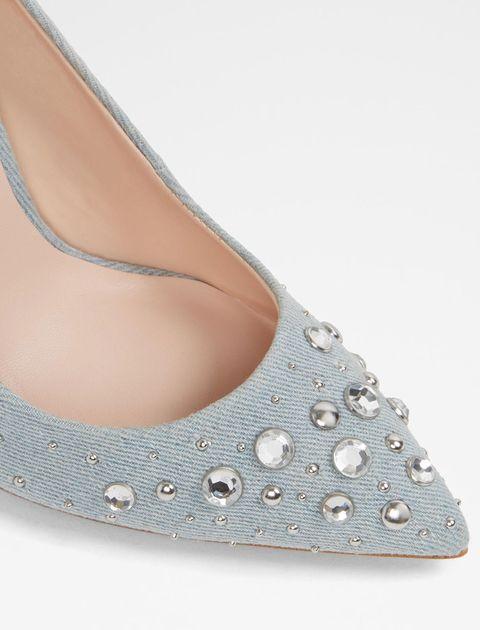 کفش پاشنه بلند پارچه ای زنانه - آبي روشن - 4
