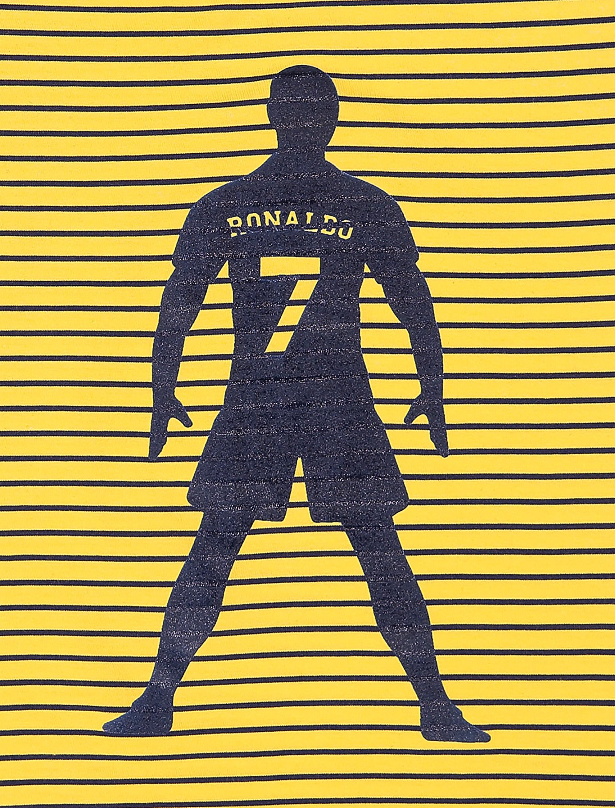 تاپ و شلوارک نخی پسرانه Ronaldo - تدی بیر - زرد/سرمه اي - 4