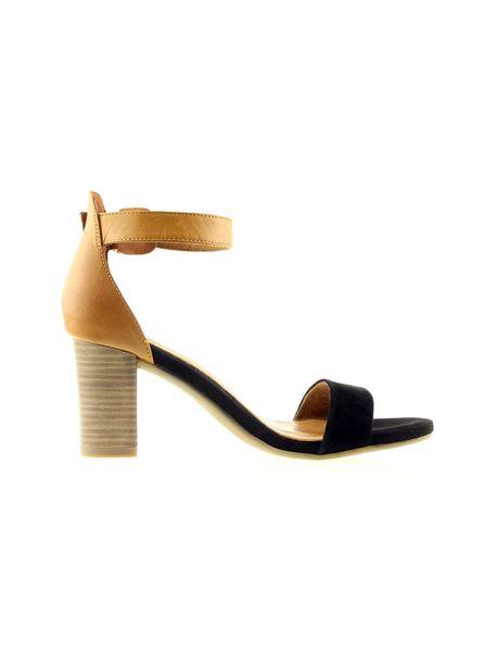 کفش پاشنه بلند چرم زنانه - مشکي و عسلي - 1