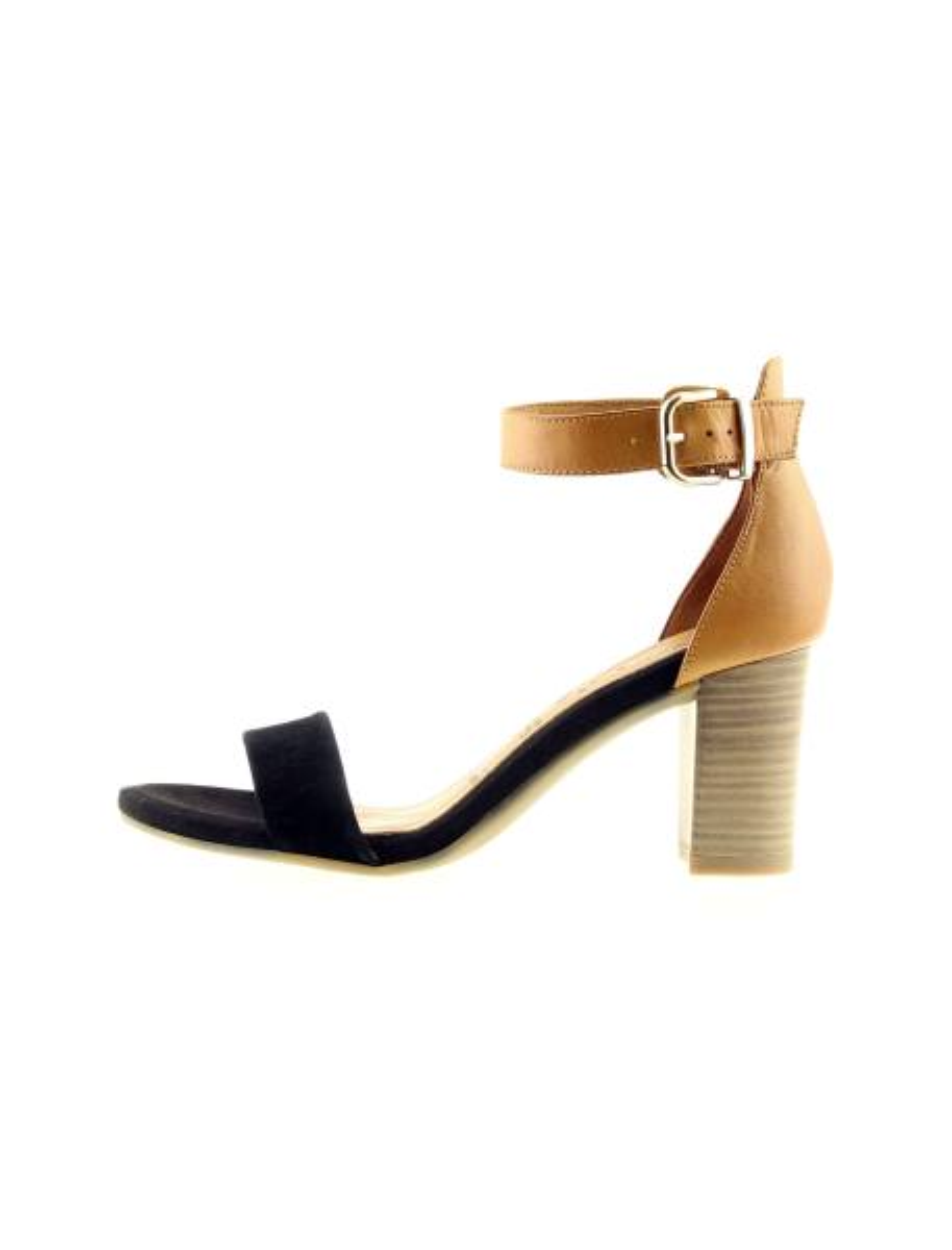 کفش پاشنه بلند چرم زنانه - مشکي و عسلي - 3