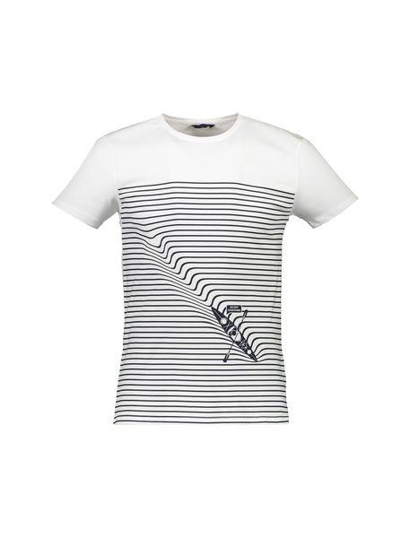 تی شرت نخی یقه گرد مردانه - سفيد - 1