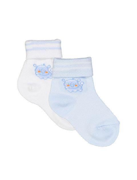 جوراب نخی ساده نوزادی بسته 2 عددی - آبي و سفيد - 1