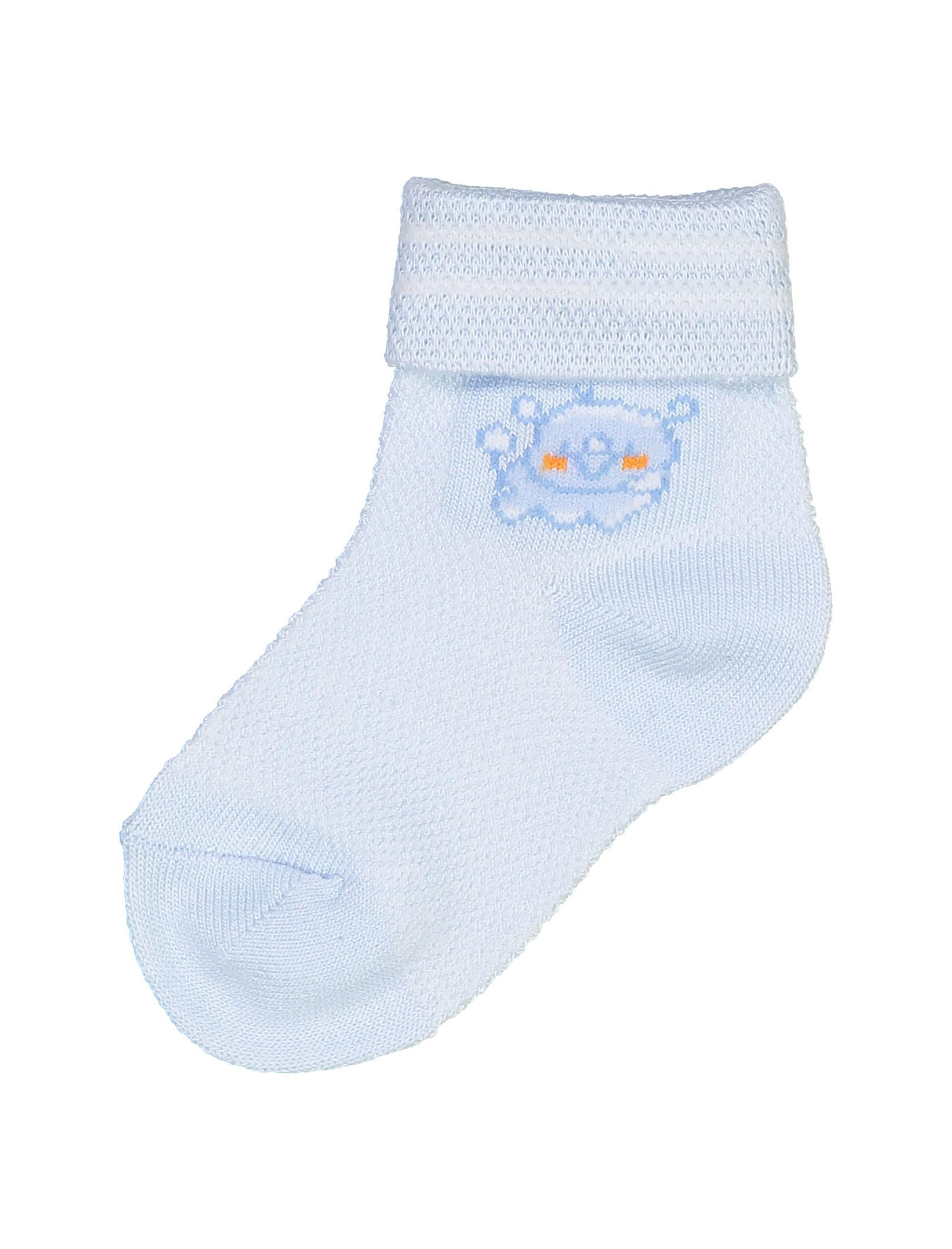 جوراب نخی ساده نوزادی بسته 2 عددی - آبي و سفيد - 4