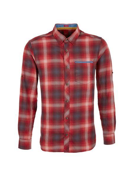 پیراهن نخی آستین بلند مردانه - قرمز - 1