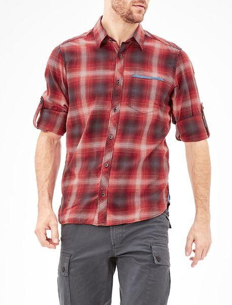 پیراهن نخی آستین بلند مردانه - قرمز - 2