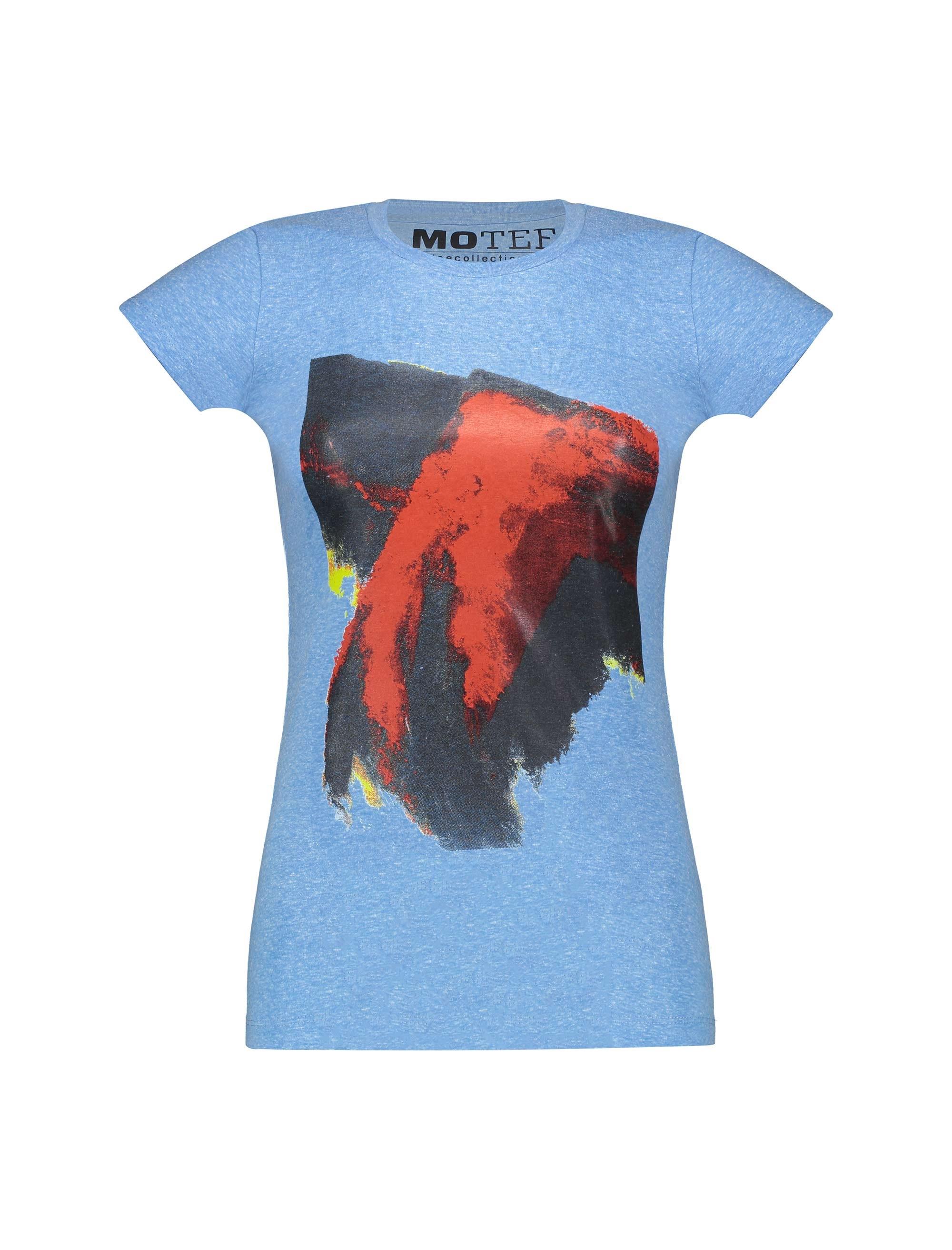 تی شرت یقه گرد زنانه - آبي روشن - 1