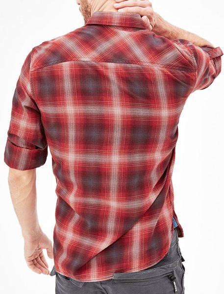 پیراهن نخی آستین بلند مردانه - قرمز - 3
