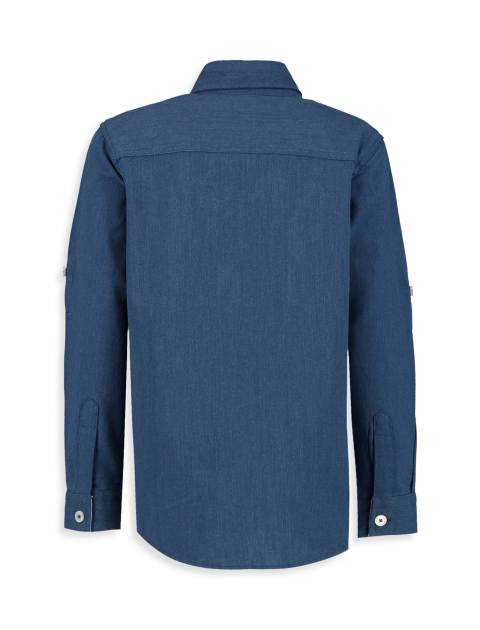 پیراهن نخی آستین بلند پسرانه - سرمه اي - 2