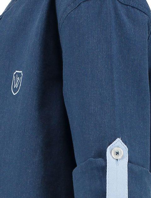 پیراهن نخی آستین بلند پسرانه - سرمه اي - 3