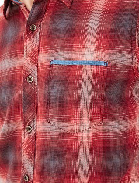 پیراهن نخی آستین بلند مردانه - قرمز - 4