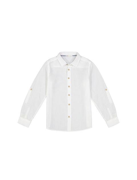 پیراهن نخی آستین بلند پسرانه - کوتون - سفيد - 1