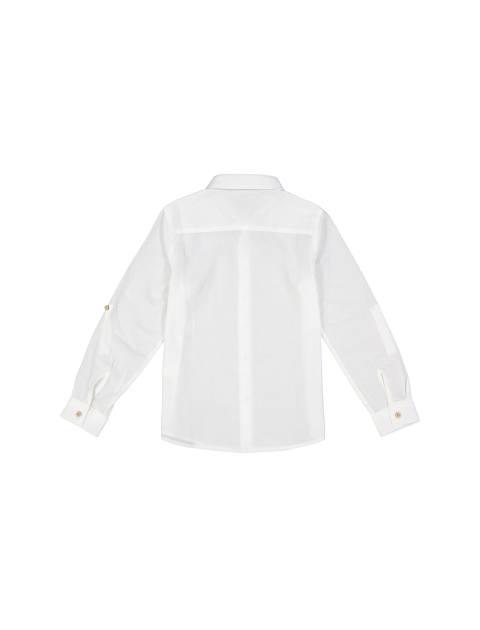 پیراهن نخی آستین بلند پسرانه - سفيد - 2