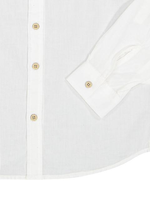پیراهن نخی آستین بلند پسرانه - کوتون - سفيد - 3