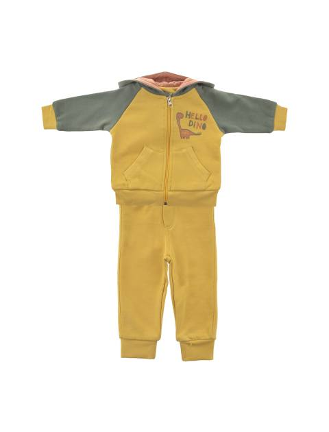 هودی و شلوار نخی نوزادی پسرانه - زرد - 1