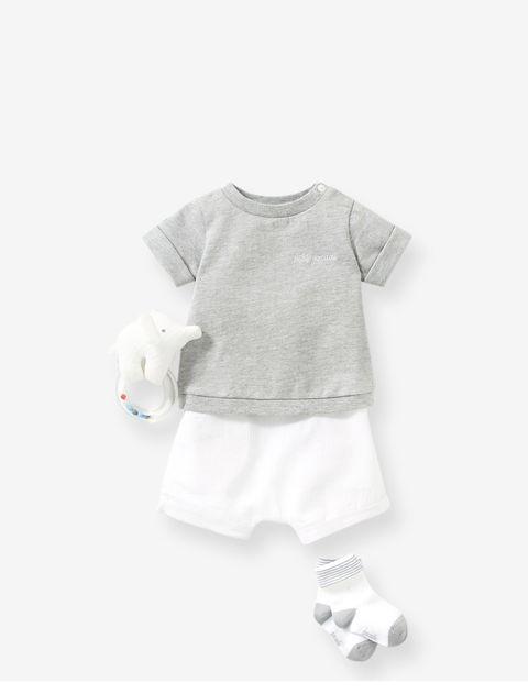 ست 2 تکه نوزادی پسرانه Lilion - جاکادی - طوسي/سفيد - 5