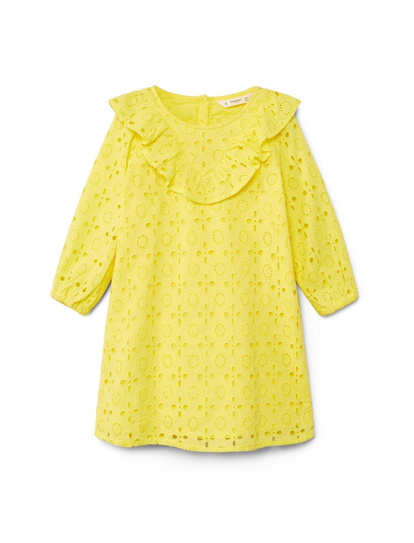 پیراهن نخی روزمره دخترانه - مانگو - زرد  - 1