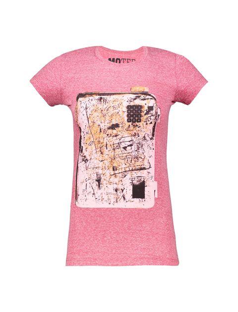 تی شرت یقه گرد زنانه - متی - صورتي - 1