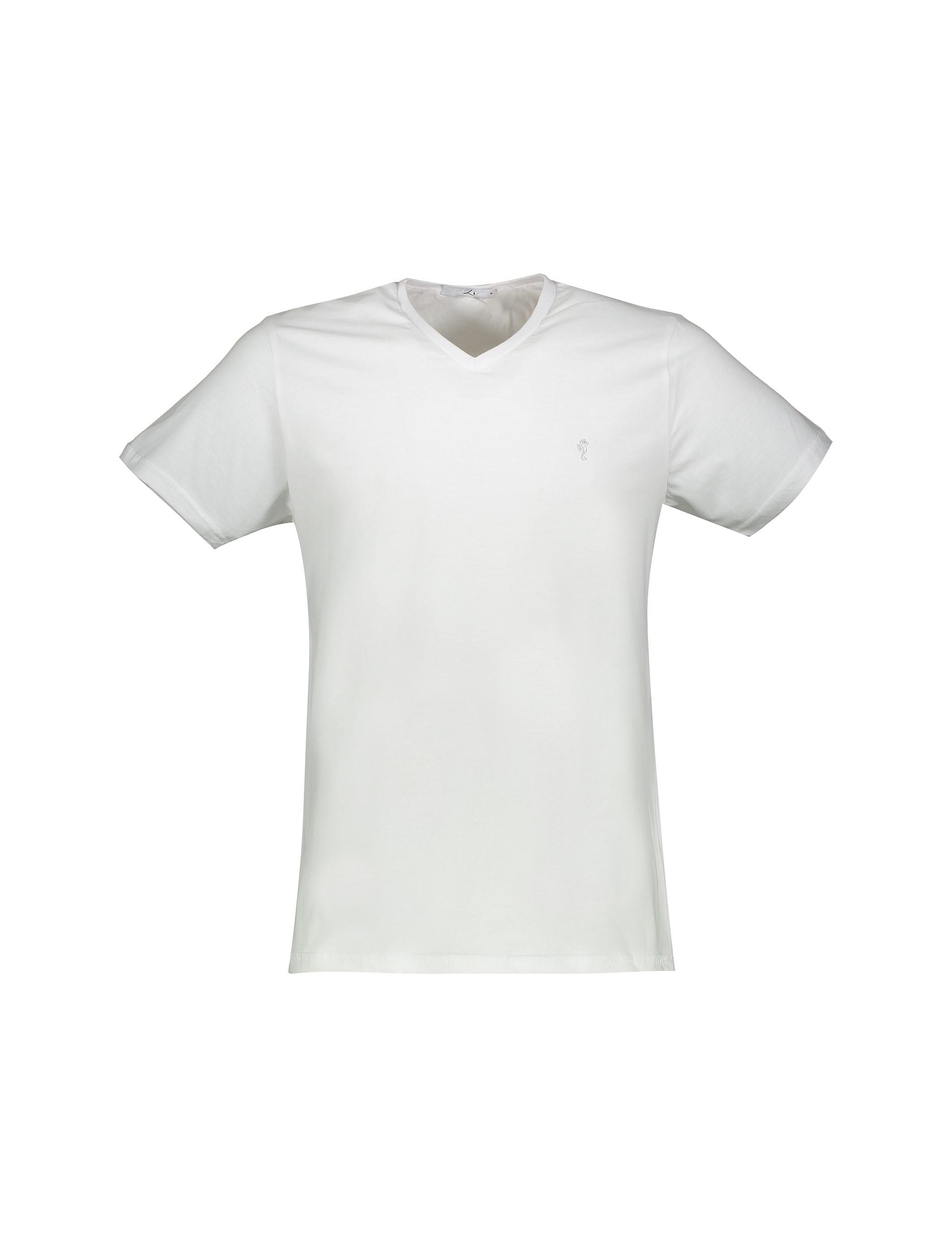 تی شرت نخی یقه هفت مردانه - سفيد - 1