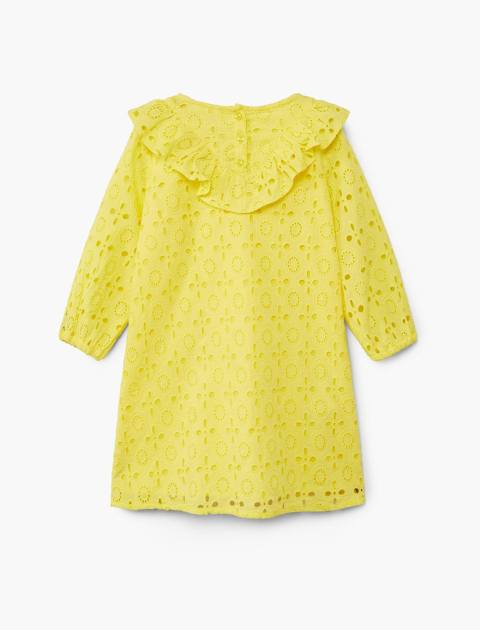 پیراهن نخی روزمره دخترانه - مانگو - زرد  - 2