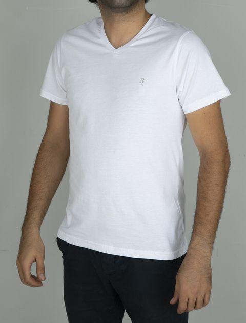 تی شرت نخی یقه هفت مردانه - سفيد - 2