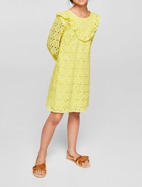 پیراهن نخی روزمره دخترانه - مانگو - زرد  - 3
