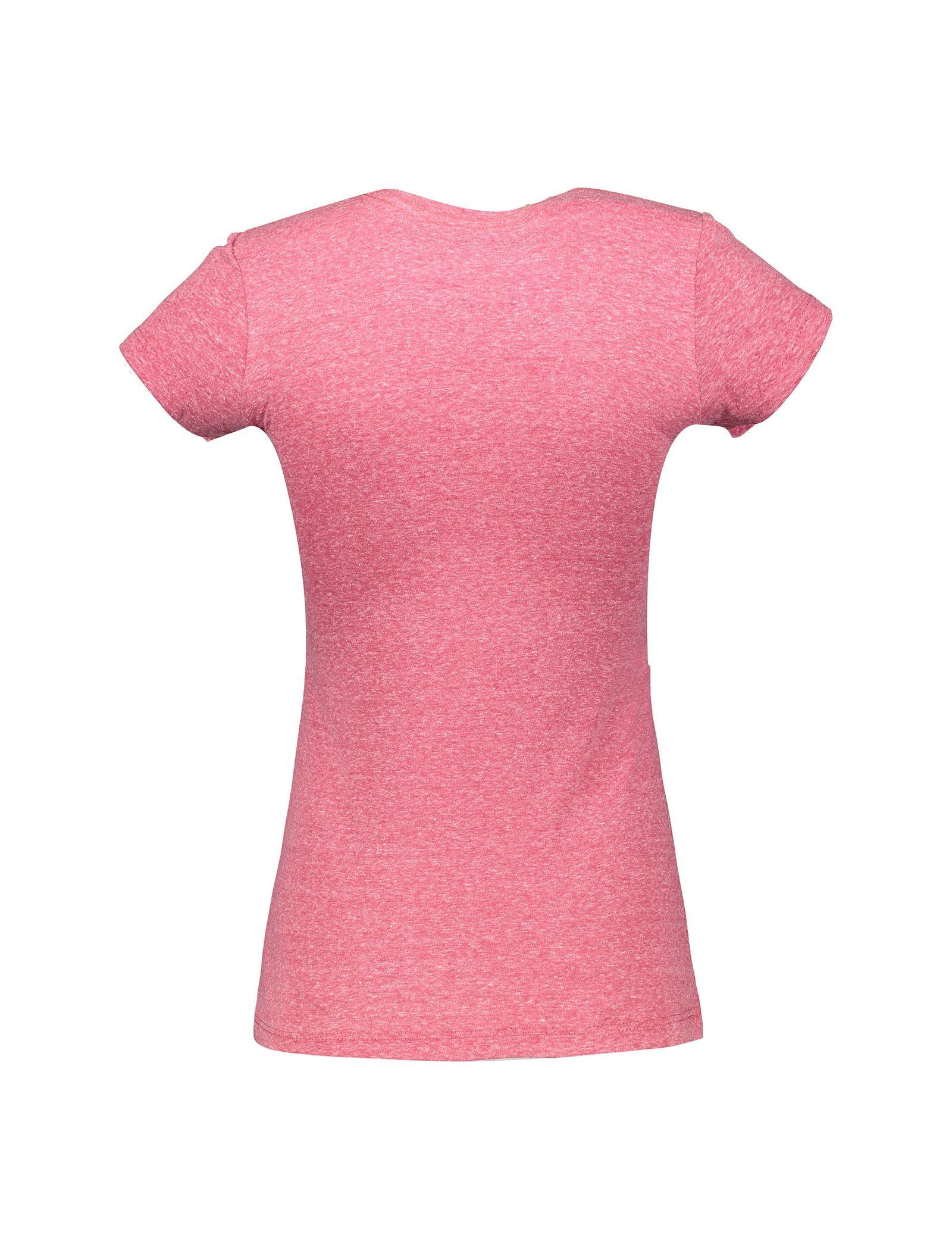 تی شرت یقه گرد زنانه - متی - صورتي - 2