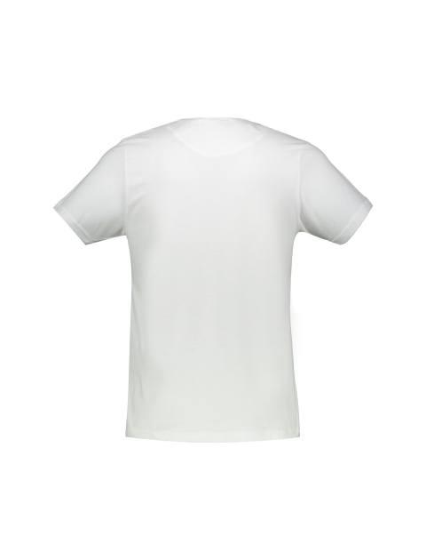 تی شرت نخی یقه هفت مردانه - سفيد - 3