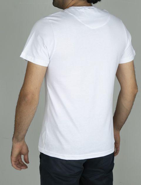 تی شرت نخی یقه هفت مردانه - سفيد - 6