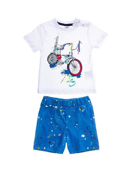 تی شرت و شلوارک راحتی نخی نوزادی پسرانه - سفيد/آبي - 1