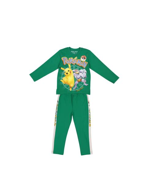 تی شرت و شلوار نخی پسرانه - سون پون - سبز - 1