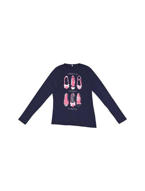 تی شرت نخی یقه گرد دخترانه - سرمه اي - 1