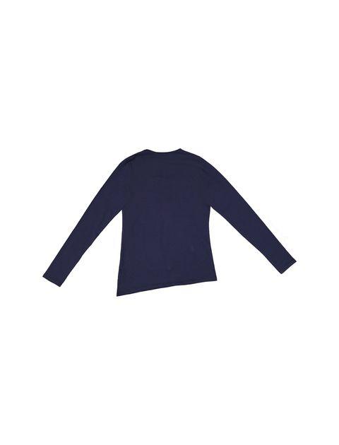تی شرت نخی یقه گرد دخترانه - سرمه اي - 2