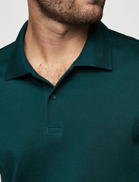 پولوشرت نخی آستین کوتاه مردانه - سبز - 5