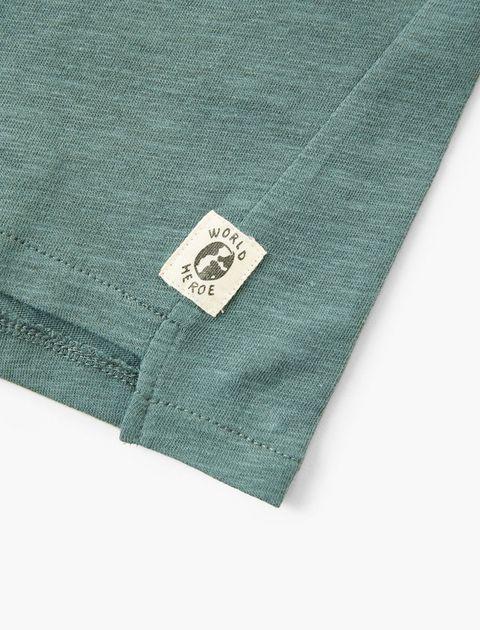 تی شرت نخی یقه گرد پسرانه - سبز  - 4