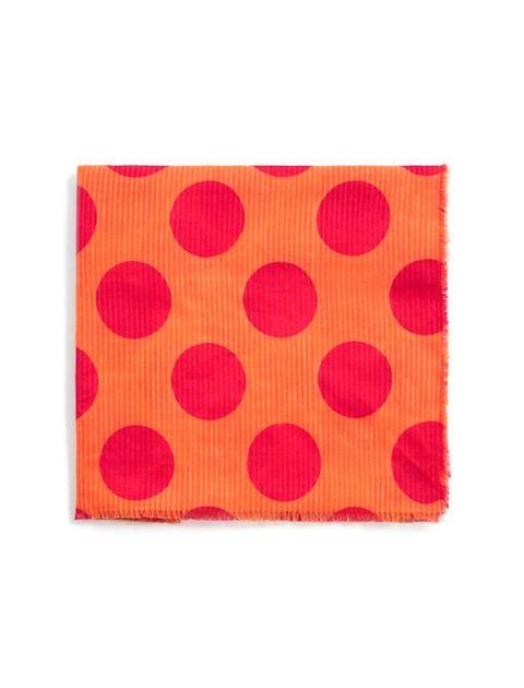 روسری نخی طرح دار زنانه - مانگو - نارنجي - 1