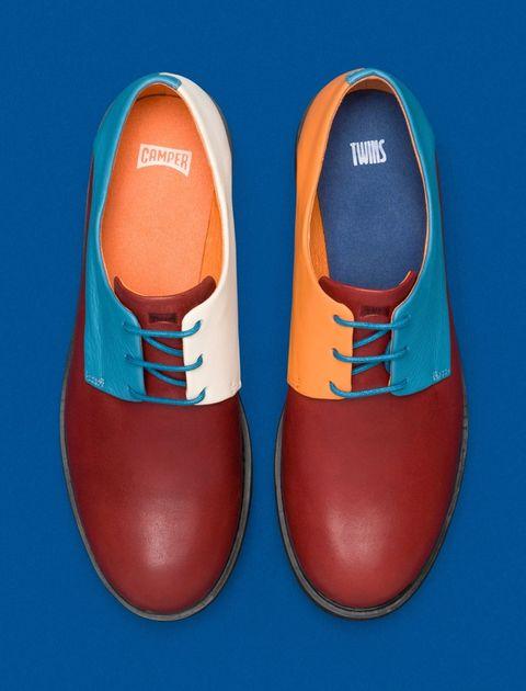 کفش تخت چرم زنانه Crucero - قرمز ، آبي - 3