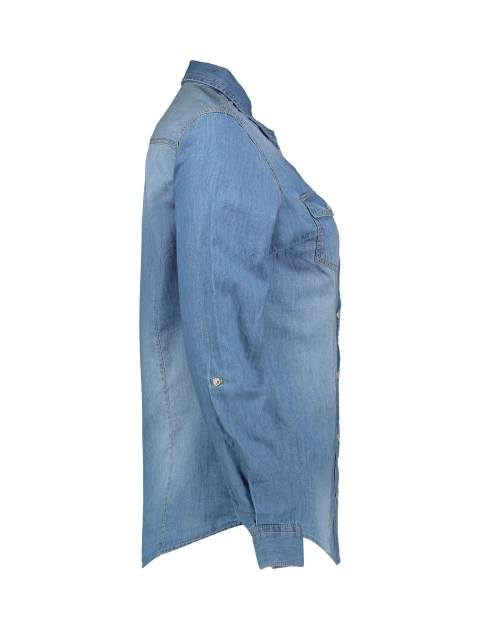 شومیز جین آستین بلند زنانه - آبي - 3