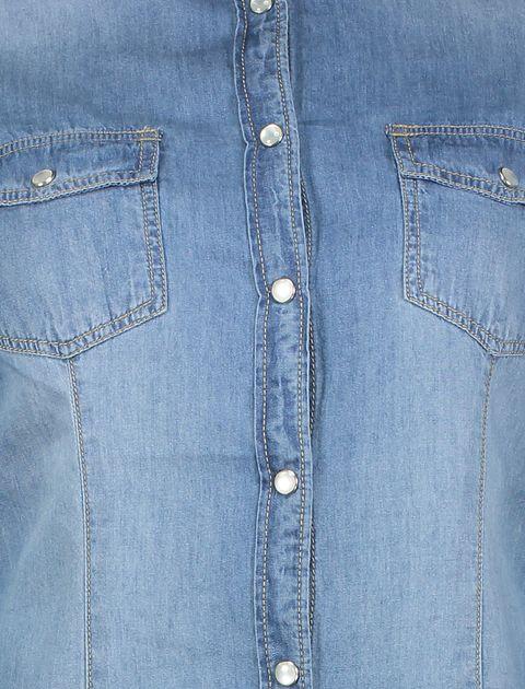 شومیز جین آستین بلند زنانه - آبي - 4