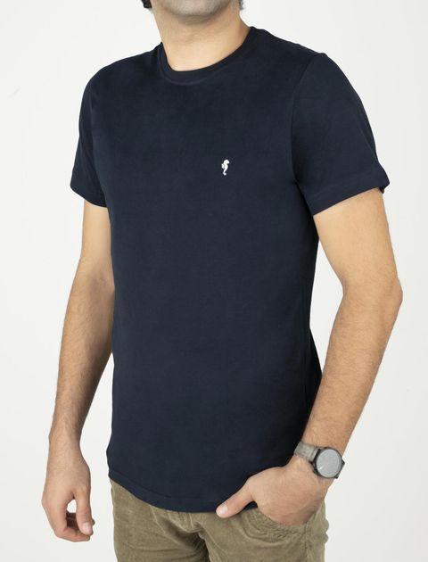 تی شرت نخی یقه گرد مردانه - زی - سرمه اي - 1