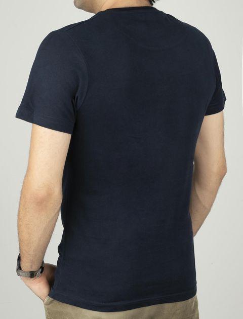 تی شرت نخی یقه گرد مردانه - زی - سرمه اي - 2