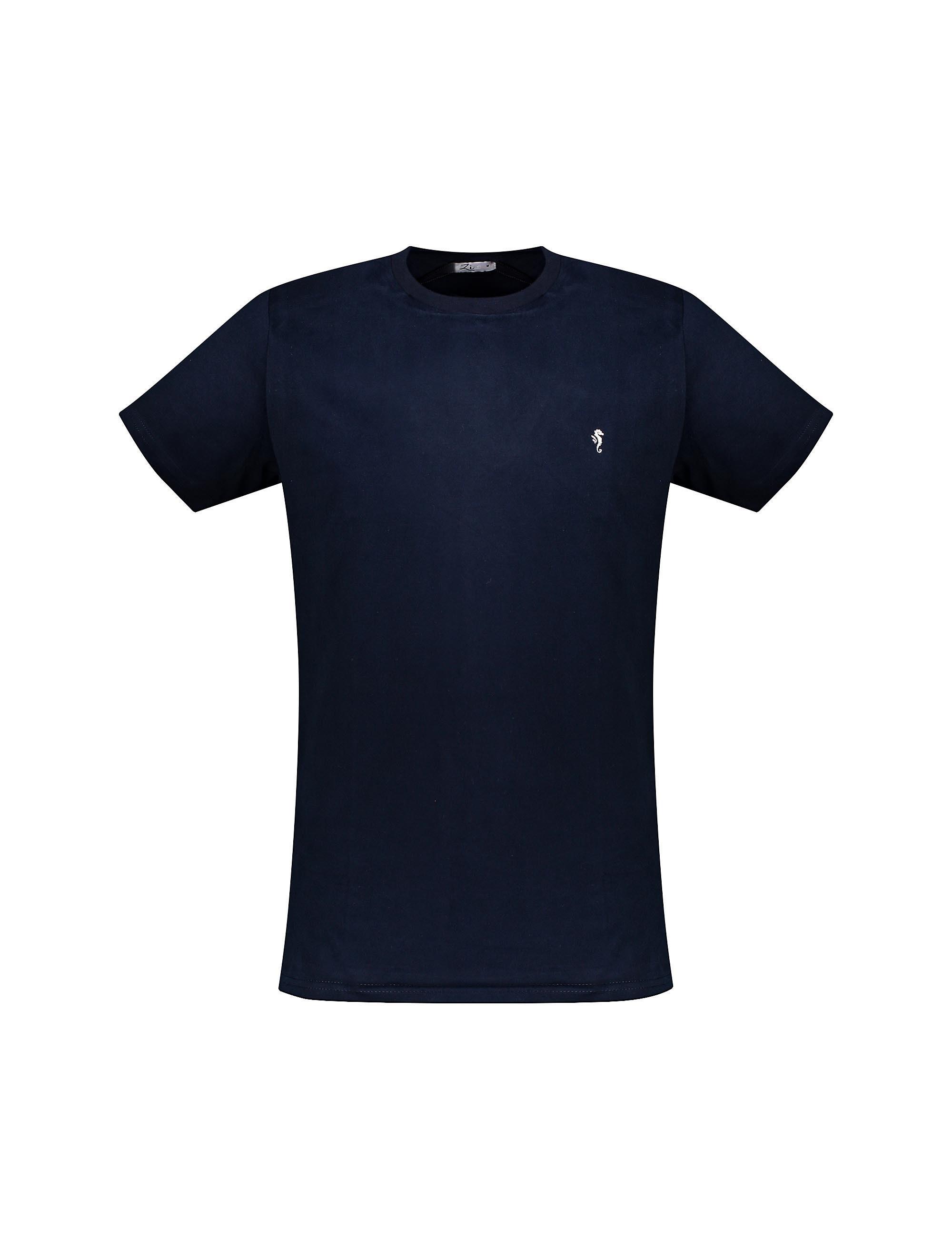 تی شرت نخی یقه گرد مردانه - سرمه اي - 3