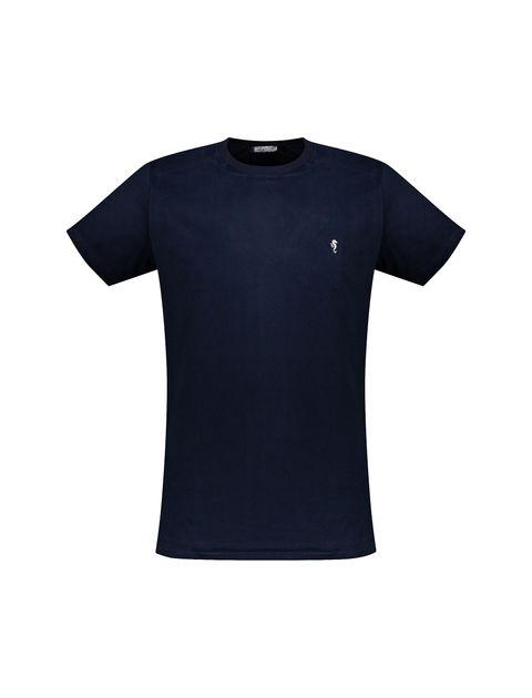 تی شرت نخی یقه گرد مردانه - زی - سرمه اي - 3