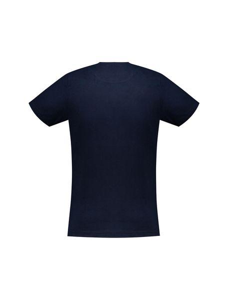 تی شرت نخی یقه گرد مردانه - سرمه اي - 4