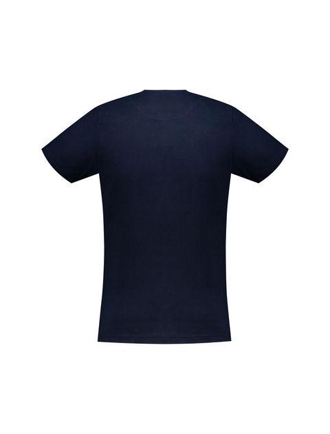 تی شرت نخی یقه گرد مردانه - زی - سرمه اي - 4
