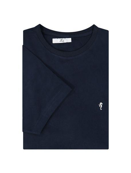 تی شرت نخی یقه گرد مردانه - سرمه اي - 6