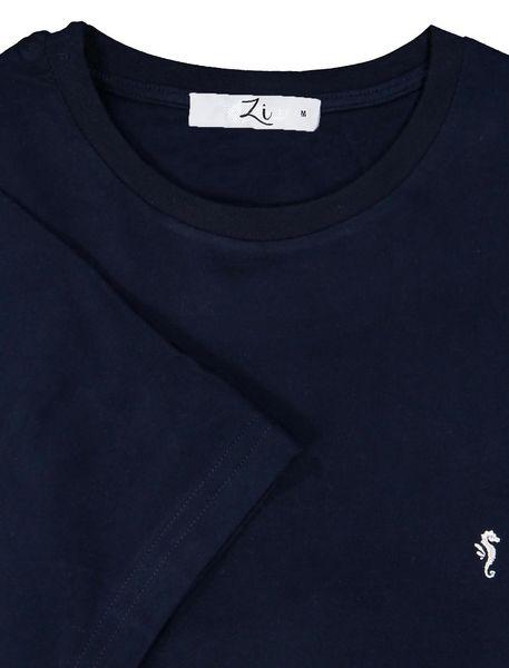 تی شرت نخی یقه گرد مردانه - سرمه اي - 7