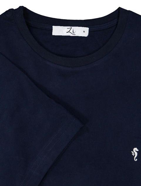 تی شرت نخی یقه گرد مردانه - زی - سرمه اي - 7