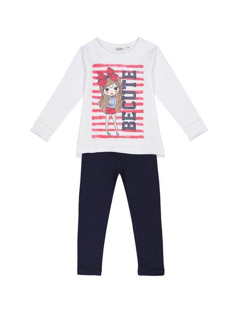تی شرت و شلوار نخی دخترانه - بلوکیدز - سفيد/سرمه اي - 1
